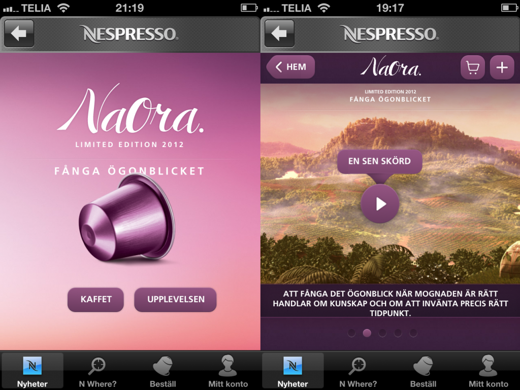 The Nespresso app for iPhone